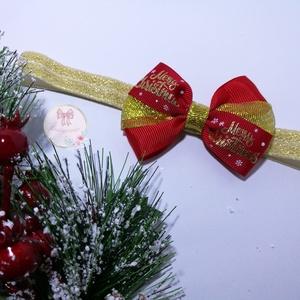 Piros Arany kombiációju karácsoni masni - ruha & divat - hajdísz & hajcsat - hajgumi - Meska.hu