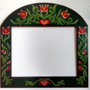 Tulipános fali  tükör (keret)  - Kézzel festett , Otthon & lakás, Lakberendezés, Képkeret, tükör, Famegmunkálás, Festett tárgyak, Megrendelésre készítettem ezt a tulipános tükör keretet, 80*80 cm-es méretben. \nEgy székely tulipáno..., Meska