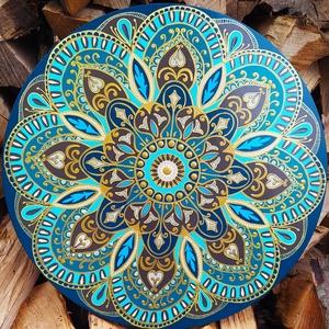 Türkiz-arany mandala, Otthon & Lakás, Dekoráció, Kép & Falikép, Gravírozás, pirográfia, Festészet, Meska