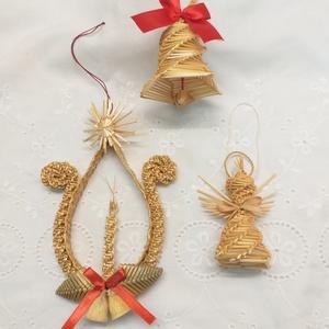 Karácsonyfadíszek, Karácsony & Mikulás, Karácsonyfadísz, Fonás (csuhé, gyékény, stb.), A 3 darabból álló karácsonyfadísz szép éke lehet a fenyőfádnak. Szalmából font angyalka, tulipános g..., Meska