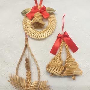Karácsonyfadíszek, Karácsony & Mikulás, Karácsonyfadísz, Fonás (csuhé, gyékény, stb.), A 3 darabból álló szalmából font karácsonyfadíszt szívesen ajánlom a figyelmedbe.  A csomagban csipk..., Meska