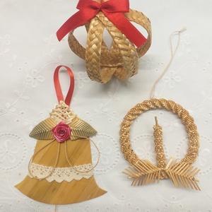 Karácsonyfadíszek, Karácsony & Mikulás, Karácsonyfadísz, Fonás (csuhé, gyékény, stb.), A 3 darabból álló szalmából készült karácsonyfadísz csomagban található:  nagyobb méretű feldíszítet..., Meska