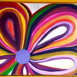 Nyíló virág, Képzőművészet, Otthon & lakás, Festmény, Akril, Napi festmény, kép, Festészet, Feszített vászonra akril festékkel készült egyedi kép. 30x40 cm, Meska