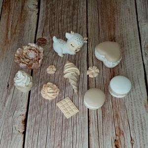 Kerámia dekorációs csomag cappuccino-rosegold, Otthon & Lakás, Dekoráció, Dísztárgy, Kerámia, Festett tárgyak, 11 darabból álló, kerámiaporból öntött, kézzel festett dekorációs csomag. Felhasználható ajtódíszek,..., Meska