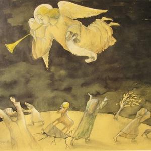 Az Ítélet meghirdetése, Festmény vegyes technika, Festmény, Művészet, Festészet, A kép tus, papír és ceruza technikával készült.\nmérete: 36x41 cm (kerettel együtt), Meska