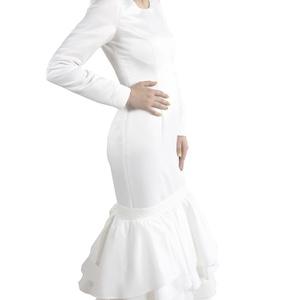 menyasszonyi ruha, Esküvő, Menyasszonyi ruha, Varrás, 38as diplomamunkához készült menyasszonyi ruha. Alul saját anyagából fodrokkal díszített. Máretre ig..., Meska