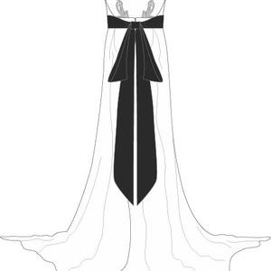 menyasszonyi ruha, Esküvő, Menyasszonyi ruha, Varrás, Méretre készülő menyasszonyi ruha. Fekete muszlin masnival, nyitott háttal és ékszer pántokkal...., Meska