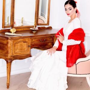 Héra - menyasszonyi ruha, Esküvő, Menyasszonyi ruha, Ruha, Alul saját anyagából fodrokkal díszített spanyol stílusú esküvői ruha. Ekrü színű.  Kollekcióink dar..., Meska
