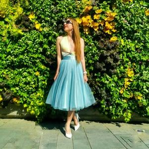 Menta Love, Esküvő, Ruha, Koszorúslány ruha, Varrás, 72-es derékméretű, 70cm hosszú menta színű tüllszoknya.\n50-es évek stílusát képviselő, koszorúslányo..., Meska