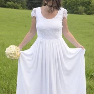 Empire, Esküvő, Ruha, Menyasszonyi ruha, Csipke felsős, empire fazonú menyasszonyi ruha., Meska