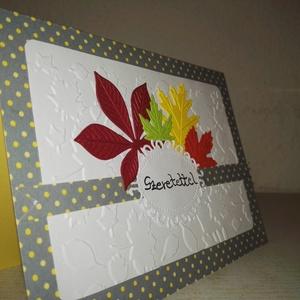�sz színes levelei képeslap - pöttyös (SzatiDizajn) - Meska.hu