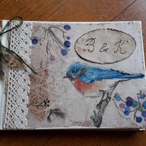 Natúra I.-  esküvői vendégkönyv, emlékkönyv, Vendégkönyv, Emlék & Ajándék, Esküvő, Decoupage, transzfer és szalvétatechnika, Festett tárgyak, Az A5-s méretben készült naplót ünnepi alkalmakra (esküvő, születésnap, házassági évforduló) ajánlom..., Meska
