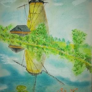 Szélmalom, Hollandia, Művészet, Festmény, Pasztell, Canson papírra, magas minőségű porpasztellel készült 21 x 30 cm-es emlékkép Hollandiáról., Meska