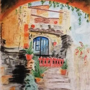 Toszkán udvar, Művészet, Festmény, Pasztell, Festészet, Porpasztell kép, 21 x 30 cm-es., Meska