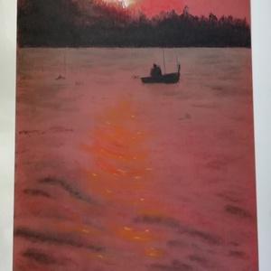 Balaton, naplemente, Művészet, Festmény, Pasztell, Festészet, A kép Tiziano 160 g-os papírra készült, Rembrandt porpasztell krétával. Mérete: 29 x 21 cm., Meska