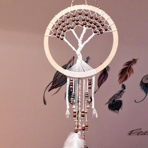 álomfogó,álomcsapda, Otthon & Lakás, Dekoráció, Dísztárgy, Csomózás, Álomfogó, álomcsapda az indiánok körében népszerű, szimbólum.\nKör alakú keretre hálót szőnek, amelye..., Meska