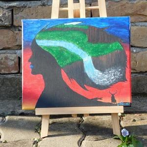 szarvas, festmény, Művészet, Festmény, Akril, Festészet, Festő vászonra készítettem, akril festékkel.\nEgyedi termék.\nMérete: 25 cm X30 cm, Meska