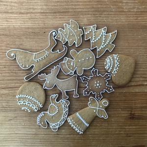 Mézeskalács figurák, Karácsonyfadísz, Karácsony & Mikulás, Otthon & Lakás, Mézeskalácssütés, Mézeskalácsból készült figurák egyszerű, írókázással készült díszítéssel. A csomag 10 különböző figu..., Meska