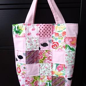 rózsaszín patchwork bevásárló táska, NoWaste, Bevásárló zsákok, zacskók , Táska, Divat & Szépség, Táska, Patchwork, foltvarrás, Ha szeretnéd színesíteni a bevásárlásaidat, vagy az ebédedet egy különleges táskában vinni a munkahe..., Meska