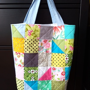 kék patchwork táska, NoWaste, Bevásárló zsákok, zacskók , Táska, Divat & Szépség, Táska, Patchwork, foltvarrás, Ha szeretnéd színesíteni a bevásárlásaidat, vagy az ebédedet egy különleges táskában vinni a munkahe..., Meska