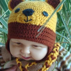 """Horgolt  babasapka \""""mézes mackó\"""", Babasapka, Babaruha & Gyerekruha, Ruha & Divat, Horgolás, Közkedvelt maci pofival készült babasapka melyet kisfiúk és kislányok egyaránt viselhetnek.\nFonala s..., Meska"""