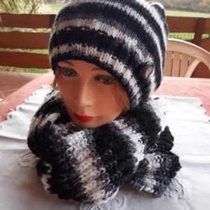 """Kötött női szett \""""zebra\"""", Táska, Divat & Szépség, Ruha, divat, Sál, sapka, kesztyű, Női ruha, Horgolás, \nFekete-szürke-fehér színekkel bővelkedő női sapka és hozzáillő bordás körsál őszi-téli napokra\nA sa..., Meska"""