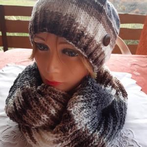 """Kötött női szett \""""Babett\"""", Táska, Divat & Szépség, Ruha, divat, Sál, sapka, kesztyű, Sapka, Kötés, Többszínű,szürke-barna-bézs árnyalatokkal bővelkedő női sapka és hozzáillő bordás körsál őszi-téli n..., Meska"""