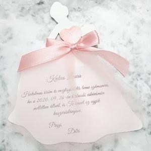 Lady koszorúslány felkérő kártya, Esküvő, Meghívó, ültetőkártya, köszönőajándék, Nászajándék, Papírművészet, Estélyi ruhás nő alakú koszorúslány felkérő, mely 14x12 cm teljes méreteiben. A felkérő szövege a sz..., Meska