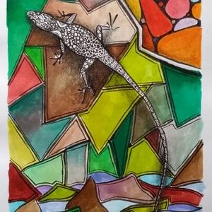 Gyík, Dekoráció, Otthon & lakás, Képzőművészet, Festmény, Akvarell, Festészet, Fotó, grafika, rajz, illusztráció, A 12x18 cm nagyságú akvarell kép a színekben fürdőző gyíkot ábrázol. Sőt, ha jobban megfigyeljük, eg..., Meska