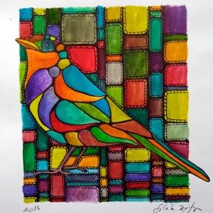 Életrekelt színek, Festmény vegyes technika, Festmény, Művészet, Festészet, Az alábbi 14X16cm-es kép ragyogó színek kavalkádját sorakoztatja fel. A háttérből egy (a környezetéb..., Meska