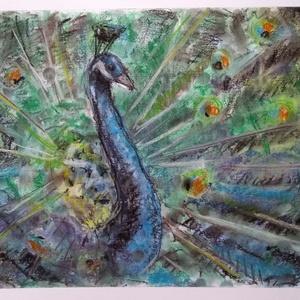 Páva, Dekoráció, Otthon & lakás, Képzőművészet, Festmény, Pasztell, Festészet, Fotó, grafika, rajz, illusztráció, A 34x22 cm nagyságú pasztell kép egy pávát ábrázol.\nA természetben jelen levő teremtmények pont attó..., Meska
