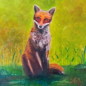 Róka, Művészet, Olajfestmény, Festmény, A 30x40 cm nagyságú olajkép egy fűben ülő rókát ábrázol, amint éppen érdeklődve néz vissza az őt meg..., Meska