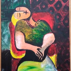 Modern nő, Otthon & lakás, Dekoráció, Kép, Képzőművészet, Festmény, Akril, Lakberendezés, Falikép, Festészet, A Picasso nyomán készült akril kép 40x50 cm nagyságú, egy ülő nőt ábrázol. A realizációra való törek..., Meska