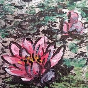 Tavirózsa, Művészet, Akril, Festmény, A 20,5x30 cm nagyságú akril kép az ezüstösen csillógó vízfelszínen úszó tavirózsákat ábrázolja.  A k..., Meska