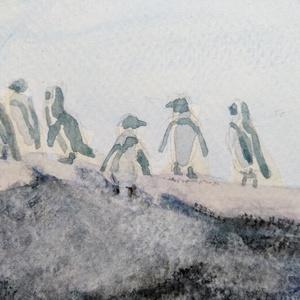 Pingvinek, Otthon & lakás, Dekoráció, Kép, Képzőművészet, Festmény, Akvarell, Lakberendezés, Falikép, Festészet, A 8x18 cm nagyságú akvarell képen pingvinek láthatóak.\n\nAki kicsi is ismeri ezeket a mókás állatokat..., Meska