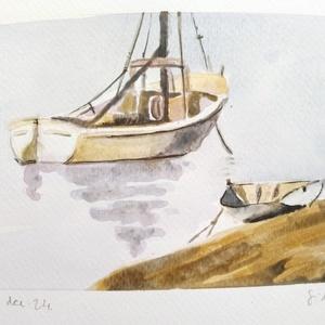 """Csónak, Otthon & lakás, Dekoráció, Kép, Képzőművészet, Festmény, Akvarell, Lakberendezés, Falikép, Festészet, A 9x14 cm nagyságú akvarell képen egy vitorlás és egy csónak szerepel.\n\n\""""(Jézus) miután abbahagyta a..., Meska"""