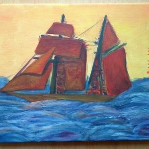 Hajó - művészet - festmény - akril - Meska.hu