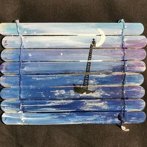 """Holdbeli csónakos, Otthon & lakás, Dekoráció, Dísz, Kép, Képzőművészet, Festmény, Festmény vegyes technika, Festészet, Festett tárgyak, ... örök szerelmem, arany sajkádra vegyél föl engem!\nÖsszefűzött fa spatulákból készült \""""hintázó\"""" 11..., Meska"""
