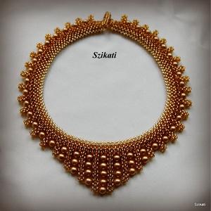 Elegáns arany gyöngyfűzött nyakék (szikati) - Meska.hu