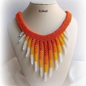 Fehér/sárga/narancs gyöngyfűzött nyakék (szikati) - Meska.hu