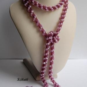 Lila gyöngyfűzött nyaklánc (szikati) - Meska.hu