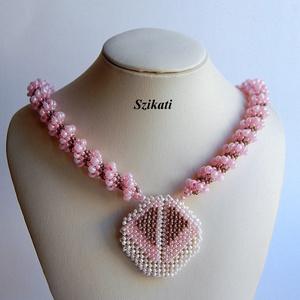 Pink - szürke gyöngyfűzött nyakék (szikati) - Meska.hu