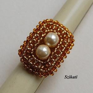 Elegáns arany gyöngyfűzött koktélgyűrű (szikati) - Meska.hu