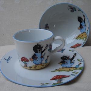 Gyermek porcelán étkészlet kisvakondos mintával, kézzel festett egyedi darab monogrammal, Gyerek & játék, Konyhafelszerelés, Otthon & lakás, Bögre, csésze, Festészet, Kerámia, 3 részből álló kisvakondos mintával festett porcelán gyermek étkészlet.\nKemény porcelán alapanyagra ..., Meska