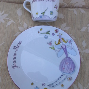 Tündéres mintával megfestett porcelán  gyermek étkészlet (SzilArtstudio1) - Meska.hu