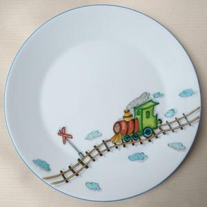 Gyermek étkészlet vonatos mintával (SzilArtstudio1) - Meska.hu