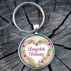 Üveglencsés fém kulcstartó- Legjobb feleség, Táska & Tok, Kulcstartó & Táskadísz, Kulcstartó, A kulcstartó magáért beszél :) Lepd meg vele Feleségedet!   3 cm átmérőjű fém alapra készült ez a ku..., Meska