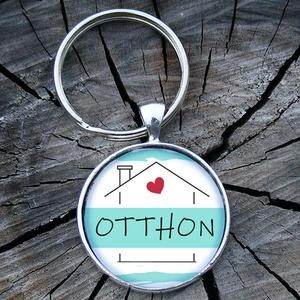Üveglencsés fém kulcstartó- Otthon, Táska & Tok, Kulcstartó & Táskadísz, Kulcstartó, Otthon... egy szóban minden benne :) otthonod kulcsának őre lehet ez  a kulcstartó!  3 cm átmérőjű f..., Meska