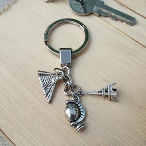 CsakFém kulcstartó- Világjáró, Táska & Tok, Kulcstartó & Táskadísz, Kulcstartó, Fém fityegőkből összeállított kulcstartó, teljes magassága kb 9 cm.  Személyes átvételre Kecskeméten..., Meska