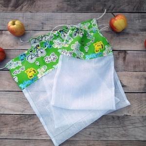 Ökozsák szett- környezetvédő bringás, Táska & Tok, Bevásárlás & Shopper táska, Zöldség/Gyümölcs zsák, Stílusos és környezetvédő bevásárlásokhoz  A szett tartalmaz: 2 db XL zsák (kb. 28x35 cm) 1 db L zsá..., Meska